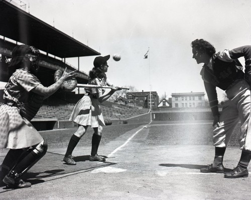calumet412:  The Chicago Colleens batting at Wrigley, All American Girls Professional Baseball League, 1948, Chicago.