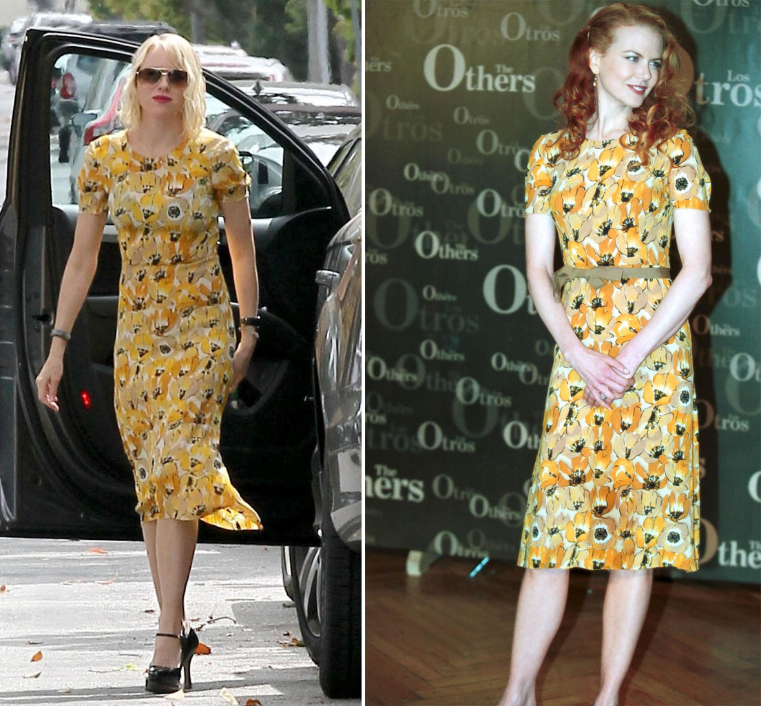 Important sexy Australian news! Yesterday Naomi Watts wore to an Easter party the same dress that Nicole Kidman wore to a premiere of The Others in 2000. HOT!