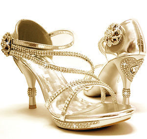 (via New Women's Shoes Stilettos Rhinestones Velcro Wedding Prom Gold | eBay)