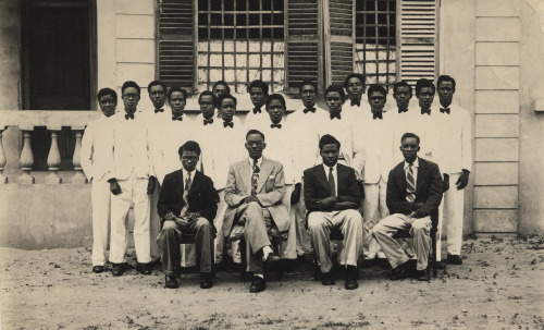 The Washington Carver Institute, Accra, Ghana, 1951 Sr. Class and Faculty Faculty L to R:  Mr. Ignatius Kwame Anyangeh (Assist to President), Dr. Ralph Shoneyeh Wright, Mr. Stephen Laweh Plokey (College Secretary), Mr. Constantine Kwesi Ansong (Dean of Students). [Mr. A.W. Womack Family Album] ©WaheedPhotoArchive, 2013