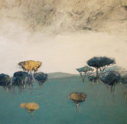 iamjapanese:  Russell Frampton(British, b.1961) Blue Glade    2013 Oil and mixed media on board