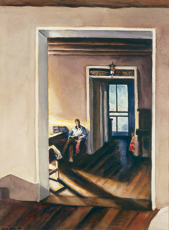 Gene Kloss (1903-1996) Early Lamp Light Watercolor,  20 by 28 inches