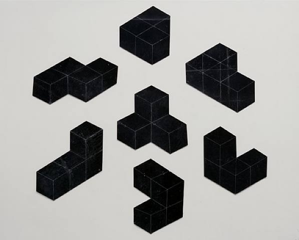 lafilleblanc:  Damián Ortega, Flat cube I, 2005 7 pieces of black rubber