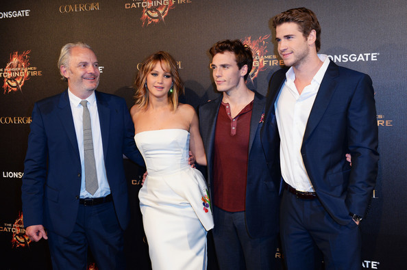 Francis Lawrence, Jennifer Lawrence, Sam Claflin & Liam Hemsworth attend The Hunger Games: Catching Fire Party during the 66th Annual Cannes Film Festival at Baoli Beach in Cannes, France. [May 18th, 2013]