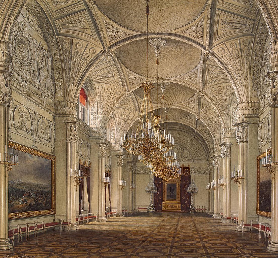 Inside Alexander Hall at the Winter Palace in 1861, Saint Petersburg