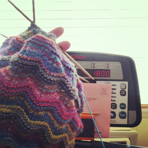 Workout Complete and I am almost done with the ugliest hat I ever knit! #knitting #hat #fitknits #healthierme #movemoreeatless  (at I like to ride my bike!!)