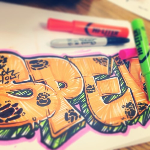 On some highlighter funk. #spek #sandiego #art #graff #inclass #rebel