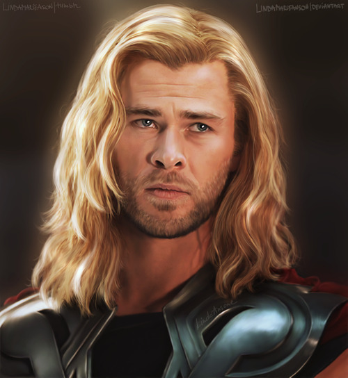 lindamarieanson:  Thor by *LindaMarieAnson Chris Hemsworth as Thor (finally!) How do people paint fair hair? HOW? It escapes my understanding. Other than that I'm quite satisfied with this portrait.