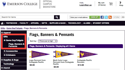 Can we just briefly discuss how the Emerson College bookstore has a section for Game Day/Tailgate merch? What game, Emerson?Tailgate in what car?