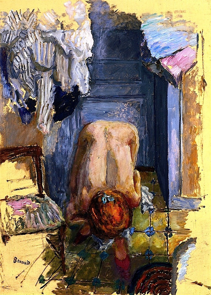 Painting: Pierre Bonnard, Crouching Nude Leaning Forward, 1918