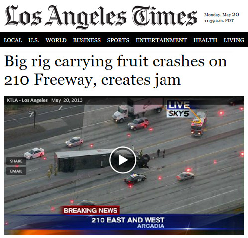 tastefullyoffensive:  Headline of the year.[latimes]  I'm about to hop on the 210 all that jelly better be cleaned up by now.