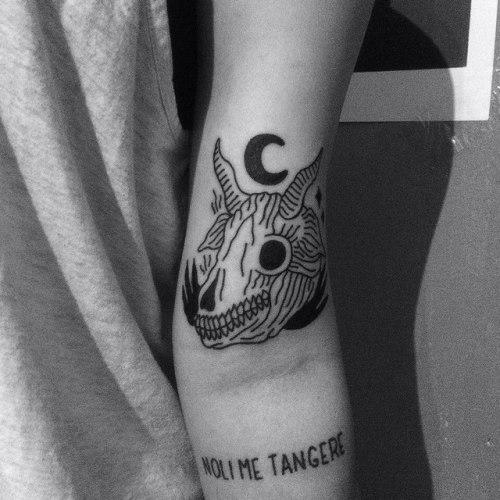 stick and poke hand poked tattoo evil noli me tangere tattoo