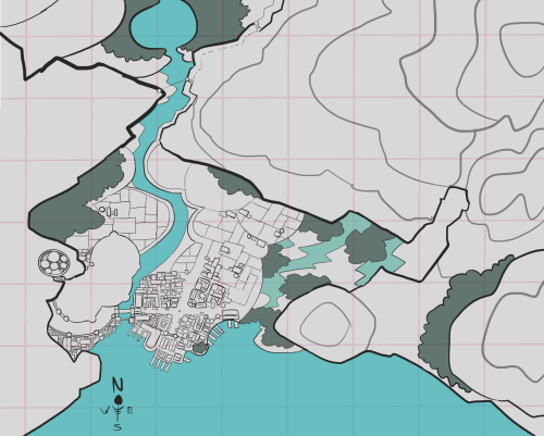 working on making a topographical map of Merchant Town and Port town, the areas in Effigies where Josef and William grew up, respectively. the square grids are… roughly one square kilometer, but probably more like a bit less than that. I made the buildings a little big. I still have to detail in the buildings in upper merchant town, but it's four am so I should stop working for now.