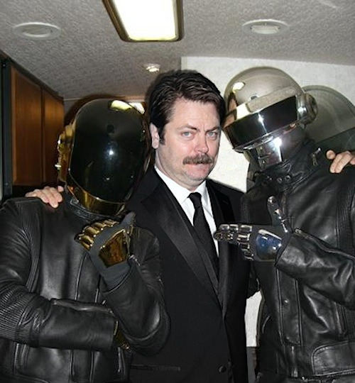 djsiroky:  autoentropy:  Ron Swanson chilling with Daft Punk  The best
