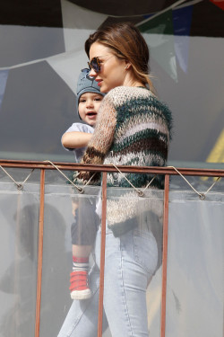 iheartmirandakerr:  Miranda takes Flynn to a children's gym in LA 18.2.13