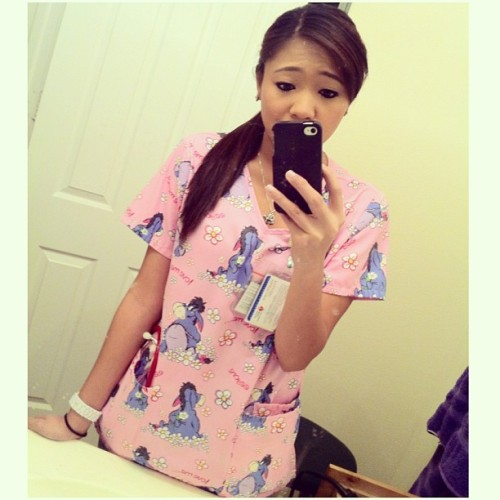 I'm like the only one that wears Disney scrubs in this facility lol 😭 OH! And State is here for survey! Yayyyy! 😶 #sorryimnotsorry #disney #eeyore #lifeofanurse #nocshift