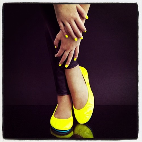 I need a new pair of @tieks !!! 😍 #yellow #neon #mani #bluebottoms best #travel shoes ever! #summer #style ☀