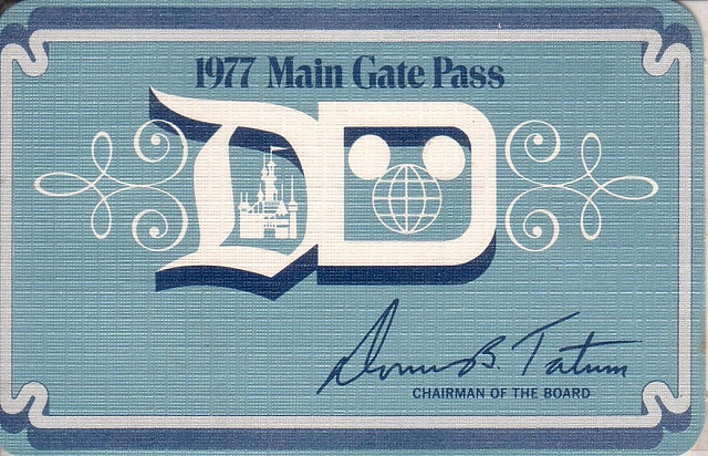 1977 main gate pass by UFG8R on Flickr.Employee's Main Gate Pass, good for free admittance to all Disney Parks