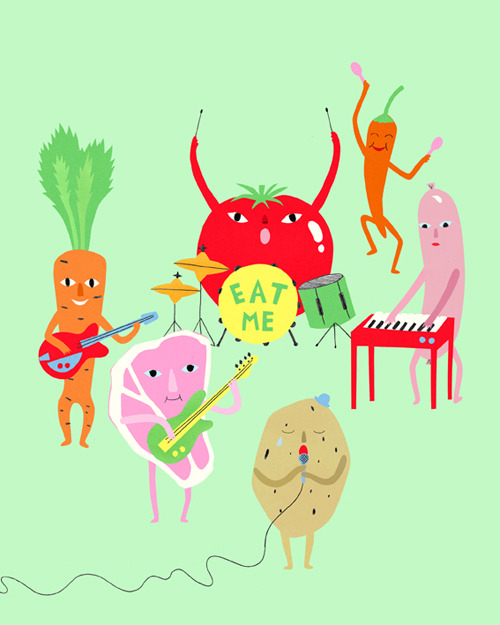 "Illustration for a piece about food and music in the latest ENO Magasin. I'm pretty sure the potato is singing ""Nothing Compares 2 U"""