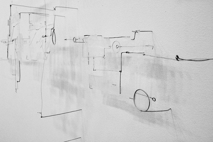 "cinoh:  Robert StratiOutline of Horizontal Dimensions, 2012Wire and tape30"" x 59"" x 8""Detail"