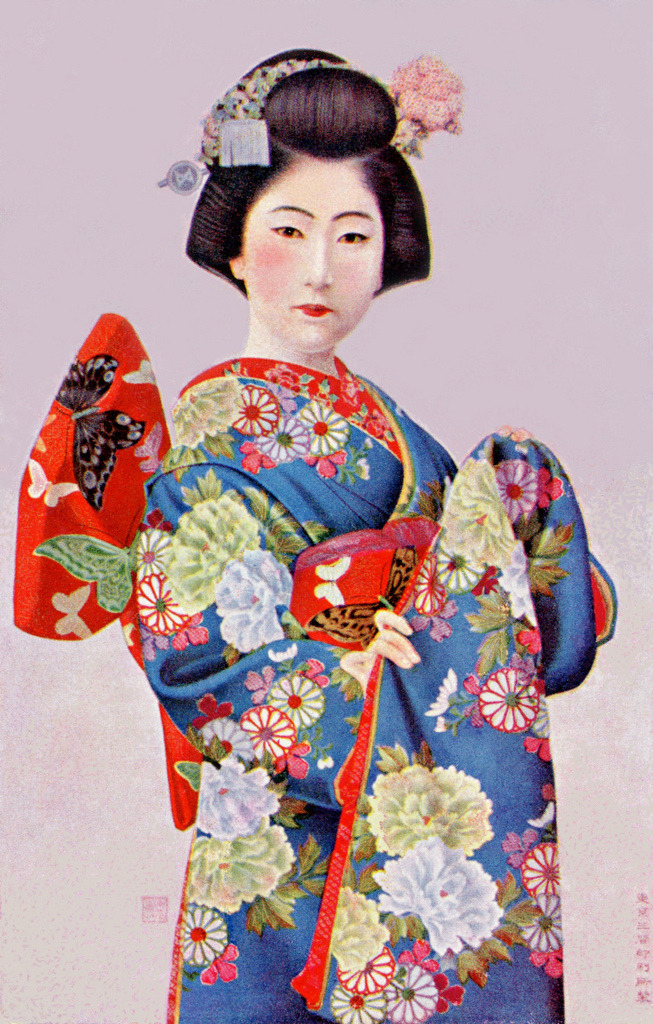 "okiya:  Lithograph of an Osaka Maiko 1910s (by Blue Ruin1)   ""Before World War II, there were a great many Maiko (Apprentice Geisha) in the City of Osaka. Unlike Kyoto Maiko, their Obi (sash) was tied in a version of the Tateya Musubi (Standing Arrow Knot) called the Ya Giccha Musubi (Fortunate House Arrow Knot). They wore their hair in the Mata Kamigata (Forked-branch Hairstyle) rather than the Kyofu (Kyoto-style), with Edo-style sideburns. Their costumes were destroyed by air-raids, together with the majority of their photographs, and they went into decline for financial and other reasons, until Maiko were revived in May 2008 with the debut of two young Geisha."" (Wikipedia Japan - 舞妓 – Maiko (Non-Kyoto Maiko)) (source)"