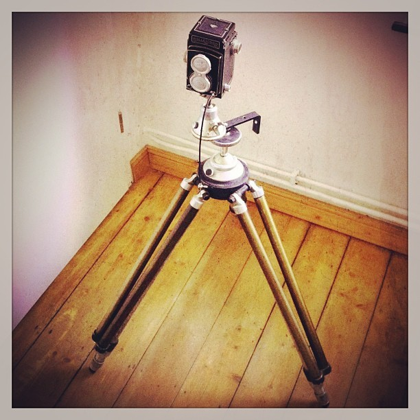 My new vintage tripod (Linhof) for my vintage medium format camera (Rolleicord III). These are made to exist forever. #linhof #tripod #rolleicord #camera