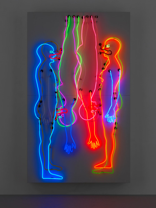 "psychotic-art:  'sex and death/double '69"", 1985neon tubing on aluminium monolithimage © 2012 bruce nauman"