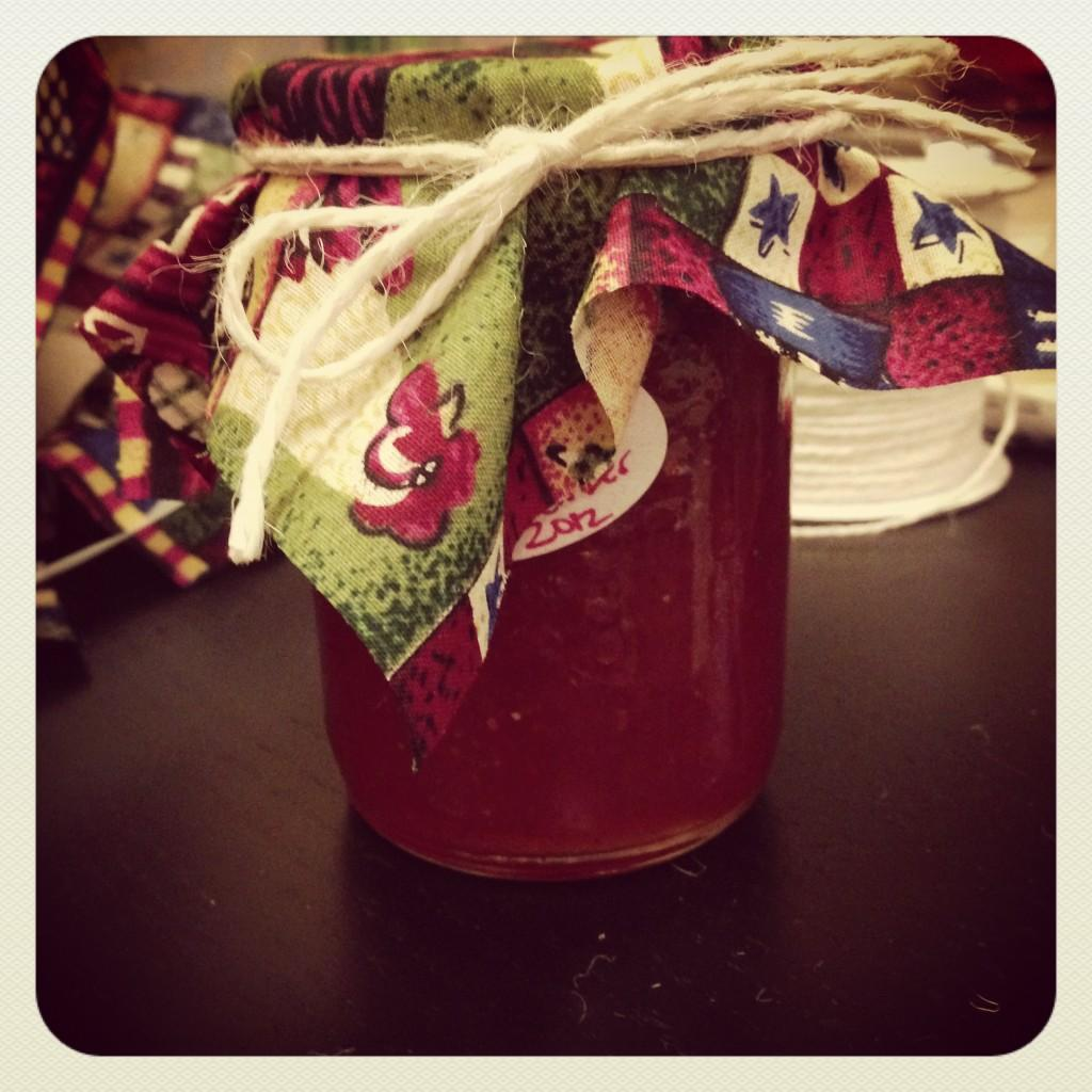 From Gastroposter Maxine Levine:  this is the Cranberry Pear and Cinnamon jam I made as gifts this year