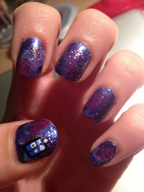 My take on galaxy nails… with a TARDIS :D