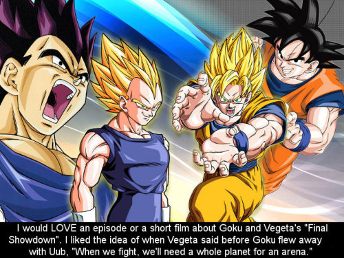 dbz-confessions:  Submitted by Anonymous.  They did on Dragon Ball Online timeline. On the year 801, Goku felt his life was at an end and left together with Vegeta for their last fight. And only for that, that game is my personal canon.