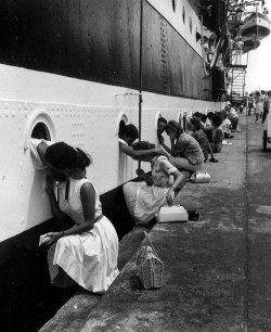 "anchorsandbooks:  heycuddleme:  ""The Last Kiss"" WWII. perfect.  I wonder how many of those men came back. I wonder how many women didn't greet the boat when it returned because the one they loved wouldn't be on it.  I wonder if this picture captured the last time these couples ever saw each other."
