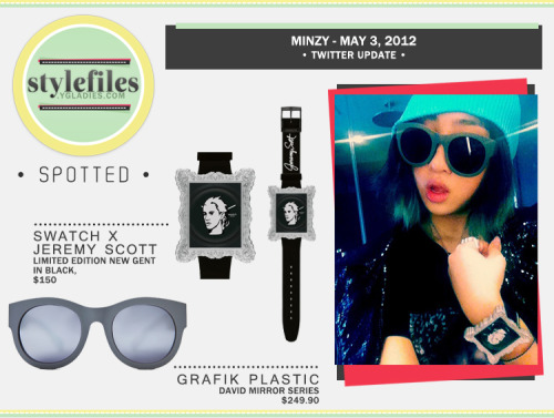 SPOTTED: Mint Minzy in cool Swatch X JScott and grafik plastic -  Last May, Minzy tweeted two photos of herself rockin' some cool accessories and a mint colored beanie. The watch is the product of a Jeremy Scott x Swatch collaboration from A/W 2011. She is wearing the Limited Edition 'New Gent' watch, that features a stylized sketch of Jeremy Scott printed on the glass. That is certainly one way to stay close to her designer buddy. kekeke The limited edition watches are sold out (OF COURSE!) but there are several available on Ebay for about $60-150USD. Covering her eyes is a pair of the popular grafik plastic 'David mirror series' sunglasses. These specs appeal to the Minzy's playfulness and the frames can easily be adjusted to their individual mood with detachable temples. Available on their site for ~$251USD.   MINT MINZY. yfrog.com/gzelatrpj yfrog.com/keopszfj — Minzy (@mingkki21) May 3, 2012  Too bad we can't really see her ring T_T. We'd totally by that Swatch if it had Minzy's face on it  Fashion IDs by bryologue & tazanya @ygladies.comCollage by inrahrah@ygladies.com