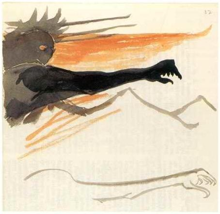 anarcadia:  Tolkien's watercolour illustration of Sauron  His arm has grown long.