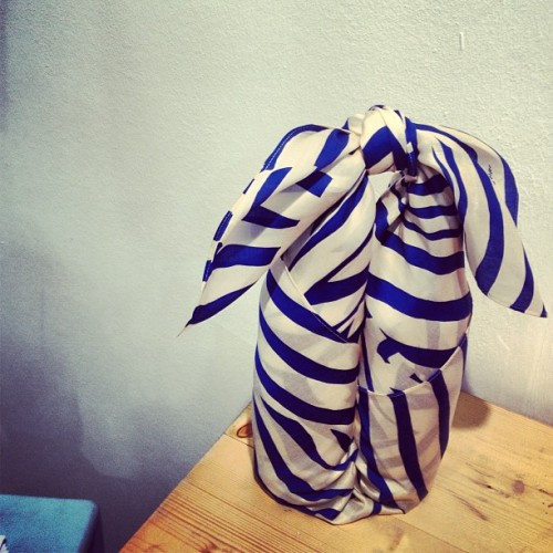 … You can wrap bottles with… #thelinkcollective #scarf #furoshiki #showstopper #pulse2013 #randomtypography  (at Earls Court Exhibition Centre)
