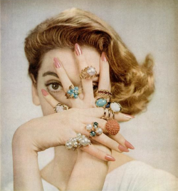 floralle:  Carmen Dell'Orefice models 1950s ring fashions