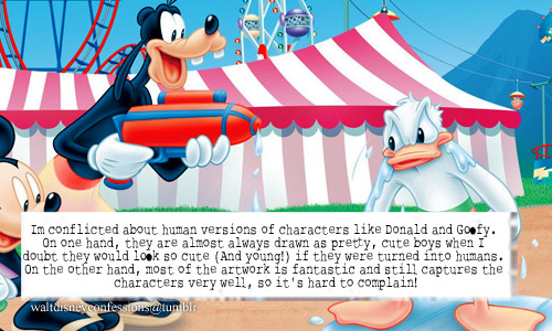 """Im conflicted about human versions of characters like Donald and Goofy. On one hand, they are almost always drawn as pretty, cute boys when I doubt they would look so cute (And young!) if they were turned into humans. On the other hand, most of the artwork is fantastic and still captures the characters very well, so it's hard to complain!"""