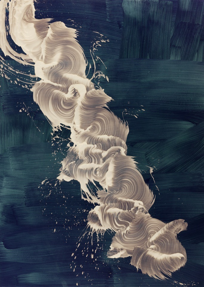 "arpeggia:  James Nares - I Can Tell, 2010, iridescent pigment and wax on linen, 94"" x 67 1/4"" 