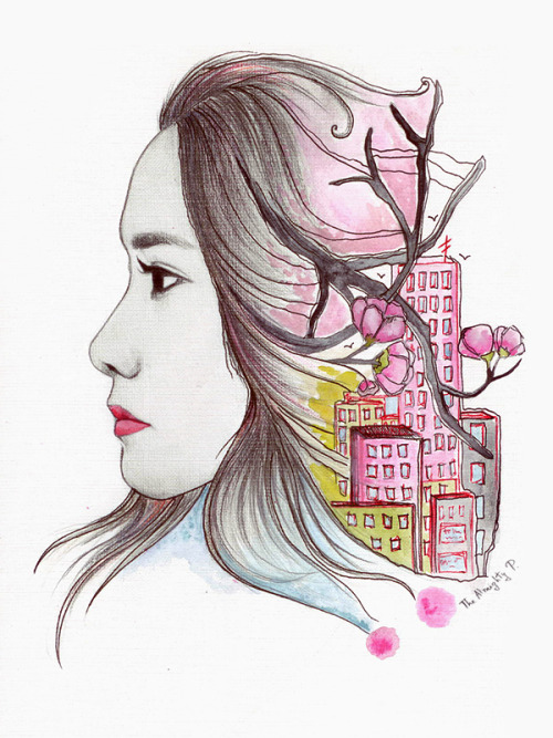 A quick spring Yoona drawing. Sorry, I'm not good at drawing girls x__x.