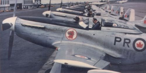 Mustangs Of the Commonwealth…Image #2: A line up of post-WWII Canadian Mustangs in service with 403 Squadron RCAF.