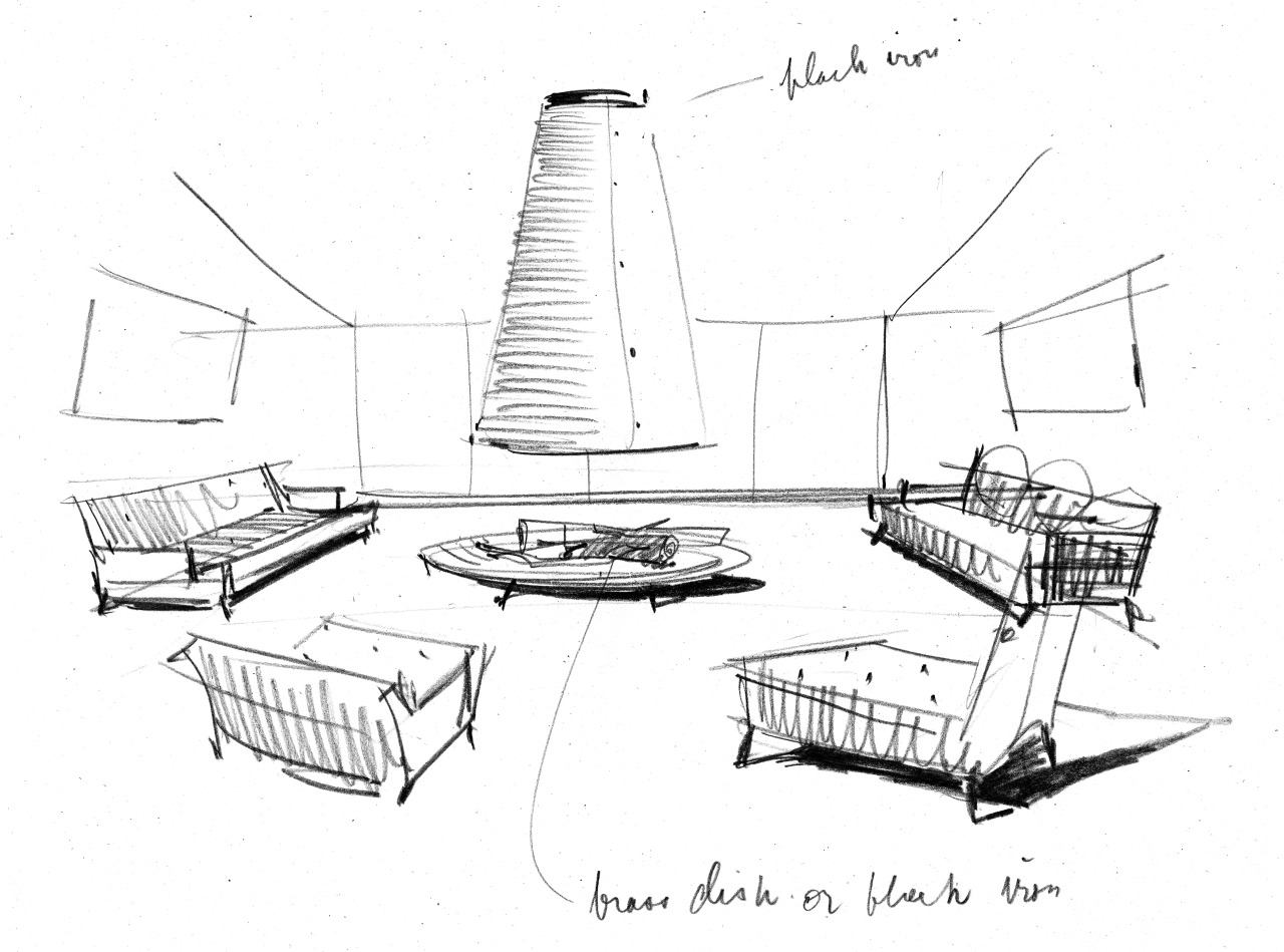 This is a rough Andrew Geller, Architect/Designer sketch of a beach house living room interior. Stay tuned for more exciting sneak peeks on this forthcoming 2014 title by his grandson Jake Gorst.
