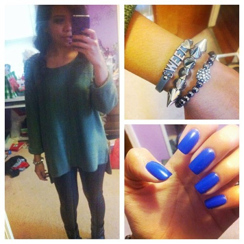 #ootd #oversize #sweater #studs #leather #leggings #ankleboots #armcandy #armparty #bcbgeneration #notd #essie #butlerplease