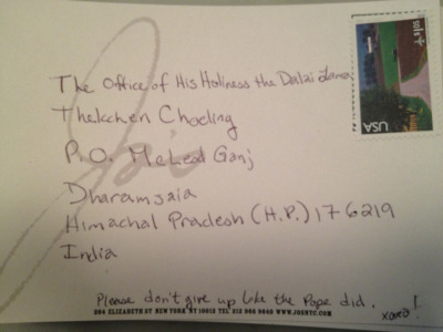 One of our postcards a guest is sending to the Dalai Lama