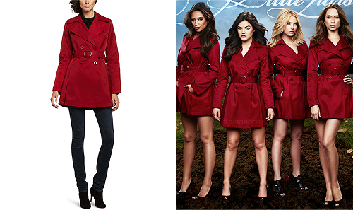 Alison may be the one sporting a red coat as of late but it doesn't mean she's the only one that can pull it off. Best part? It's on sale!  Via Spiga - Double breasted trench Coat - $100.00