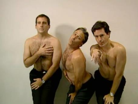 "melissamayhem:  ""Steve Carell, Jon Stewart and Stephen Colbert: How men would look if they had to pose in ads the way women are expected to."""