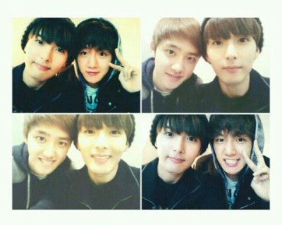 EXO K D.O and Baekhyun with Ryewook selca.