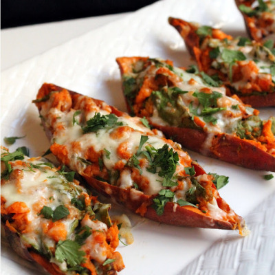 veganfeast:  beautifulpicturesofhealthyfood:  Chipotle Twice Baked Sweet Potatoes…RECIPE  USE VEGAN CHEESE