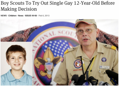 theonion:  Boy Scouts To Try Out Single Gay 12-Year-Old Before Making Decision: Full Story