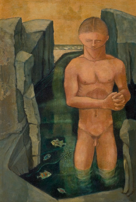 "Kelly Fearing | Male Bather with Fish | 1950 | Oil on canvas | 17 3/4"" x 11 3/4"" (45.1 x 29.8 cm)"