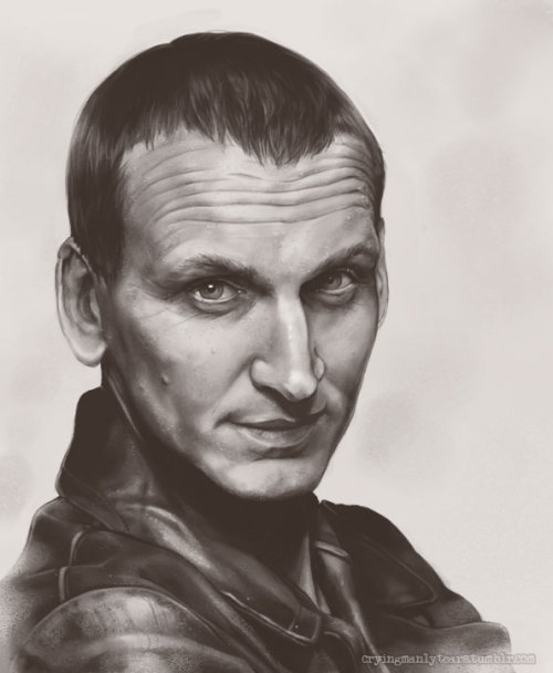 cryingmanlytears:  Last but definitely not least, we have Christopher Eccleston, the ninth Doctor! WHEEEW! I did nine portraits in five days! :o But I think I finally have them out of my system. I made a tutorial (for Digital Pencil) while I was working on this one. This series was definitely a learning experience. Hope you've enjoyed seeing these all over your dash. :D