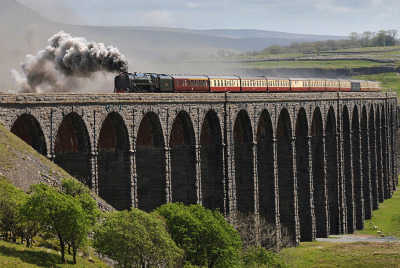 "happyharry101:  UK Steam - ""Duke of Gloucester"" passing over Ribblehead Viaduct, Yorkshire."